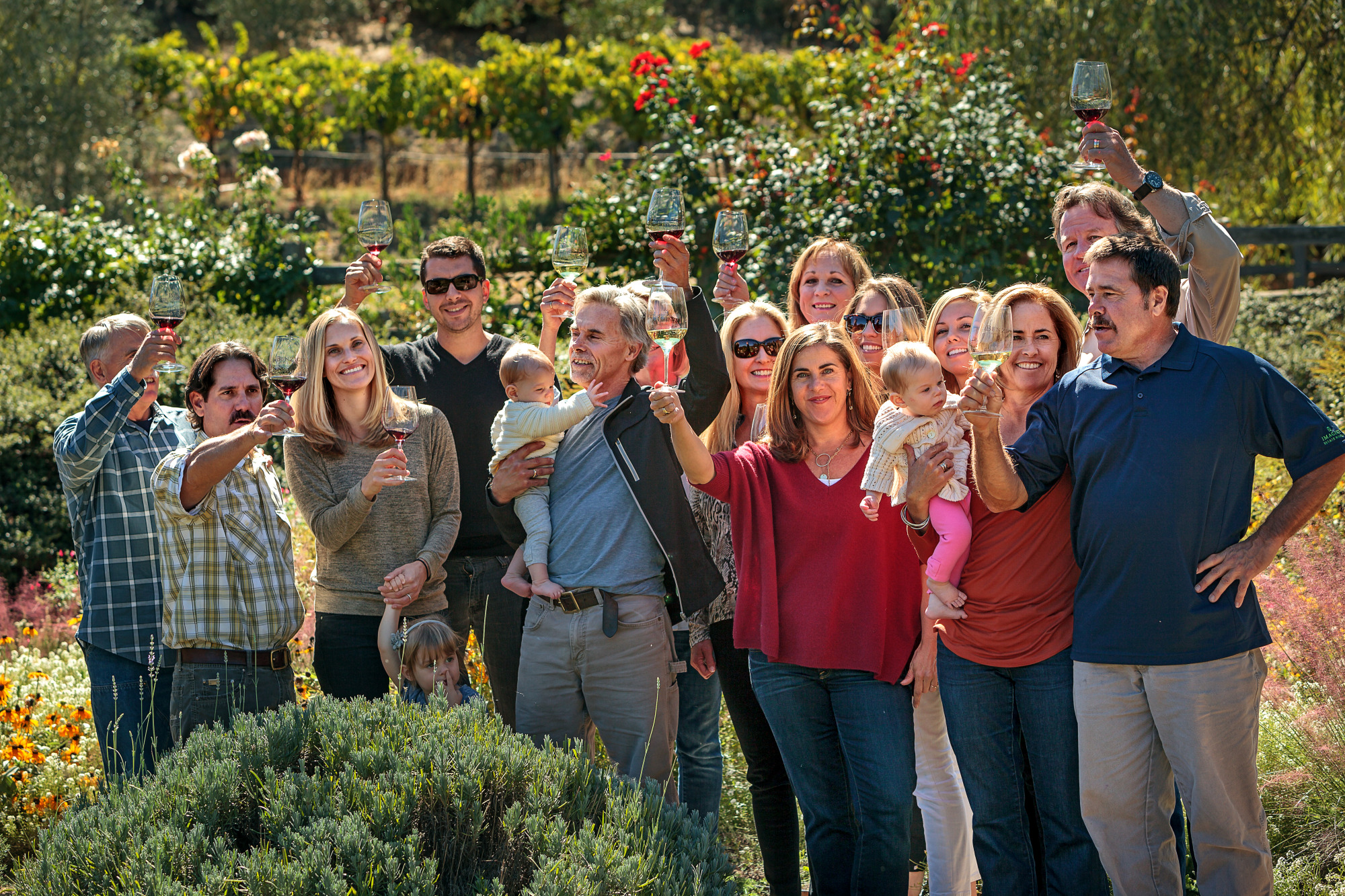 The Benzigers, wine makers from Glen Ellen, enjoying a holiday meal